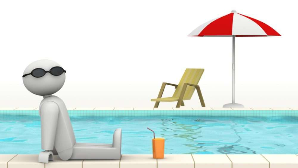 one 3d man at the edge of a swimming pool